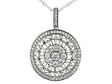 White Cubic Zirconia Rhodium Over Sterling Silver Pendant With Chain 2.48ctw