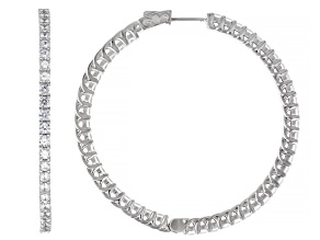 White Cubic Zirconia Rhodium Over Sterling Silver Inside Out Hoops 11.00ctw