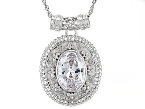 White Cubic Zirconia Rhodium Over Sterling Silver Pendant With Chain 11.88ctw