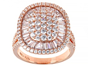 White Cubic Zirconia 18K Rose Gold Over Sterling Silver Ring 4.08ctw