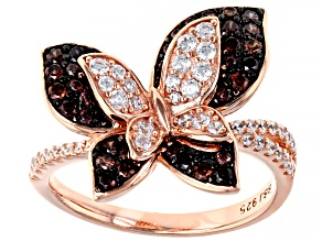 Mocha And White Cubic Zirconia 18K Rose Gold Over Sterling Silver Butterfly Ring 1.48ctw