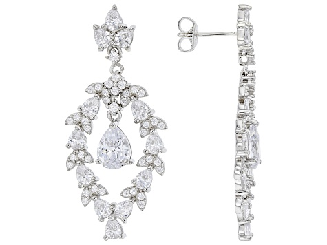 White Cubic Zirconia Rhodium Over Sterling Silver Earrings 10.96ctw