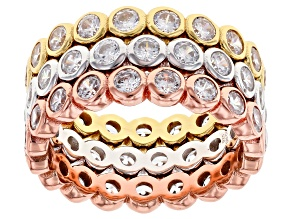 White Cubic Zirconia Rhodium And 18K Yellow And Rose Gold Over Sterling Silver Band Rings 5.70ctw