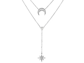 White Cubic Zirconia Rhodium Over Sterling Silver Celestial Necklace 1.29ctw
