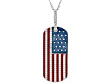 White Cubic Zirconia Rhodium Over Sterling Silver Flag Pendant With Chain 1.06ctw