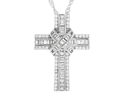 White Cubic Zirconia Rhodium Over Sterling Silver Cross Pendant With Chain 1.60ctw