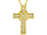 White Cubic Zirconia 18K Yellow Gold Over Sterling Silver Cross Pendant With Chain 1.60ctw