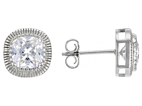 White Cubic Zirconia Rhodium Over Sterling Silver Pendant With Chain And Earrings 9.35ctw