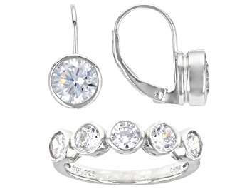 Picture of White Cubic Zirconia Rhodium Over Sterling Silver Ring And Earrings 6.49ctw