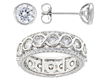 Picture of White Cubic Zirconia Rhodium Over Sterling Silver Ring And Earrings 9.30ctw