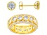 White Cubic Zirconia 18K Yellow Gold Over Sterling Silver Ring And Earrings 9.30ctw