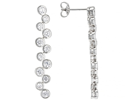 White Cubic Zirconia Rhodium Over Sterling Silver Earrings 3.79ctw