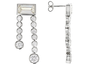 White Cubic Zirconia Rhodium Over Sterling Silver Earrings 11.24ctw