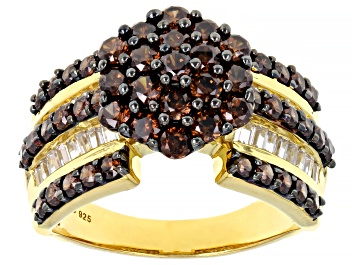 Picture of Mocha And White Cubic Zirconia 18K Yellow Gold Over Sterling Silver Ring 3.81ctw