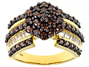 Mocha And White Cubic Zirconia 18K Yellow Gold Over Sterling Silver Ring 3.81ctw