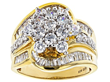 Picture of White Cubic Zirconia 18K Yellow Gold Over Sterling Silver Ring 4.44ctw