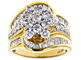 White Cubic Zirconia 18K Yellow Gold Over Sterling Silver Ring 4.44ctw