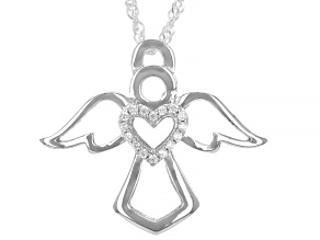 White Cubic Zirconia Rhodium Over Sterling Silver Angel Pendant With Chain 0.14ctw
