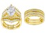 White Cubic Zirconia 18K Yellow Gold Over Sterling Silver Ring With Bands 11.91ctw