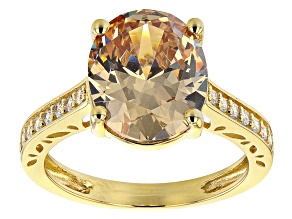 Champagne And White Cubic Zirconia 18K Yellow Gold Over Sterling Silver Ring 8.53ctw