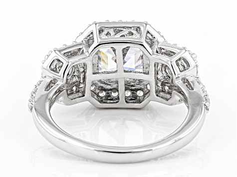 White Cubic Zirconia Platinum Over Sterling Silver Asscher Cut Ring 6.36ctw