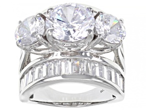 White Cubic Zirconia Platinum Over Sterling Silver Ring 15.72ctw