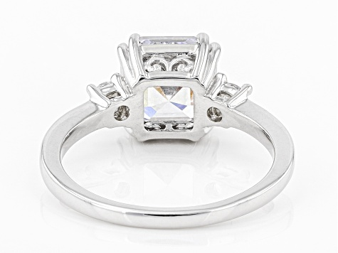 White Cubic Zirconia Rhodium Over Sterling Silver Asscher Cut Ring 4.68ctw