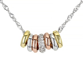 White Cubic Zirconia Rhodium And 18K Yellow And Rose Gold Over Sterling Silver Necklace 0.29ctw