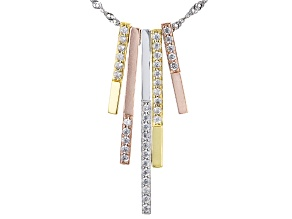 White Cubic Zirconia Rhodium And 18K Yellow And Rose Gold Over Sterling Silver Necklace 1.57ctw