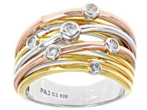 White Cubic Zirconia Rhodium And 18K Yellow And Rose Gold Over Sterling Silver Ring 0.37ctw