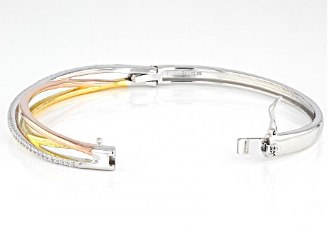 White Cubic Zirconia Rhodium And 18K Yellow And Rose Gold Over Silver Bracelet 1.48ctw