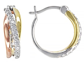 White Cubic Zirconia Rhodium And 18K Yellow And Rose Gold Over Sterling Silver Earrings 0.64ctw