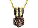 Mocha And White Cubic Zirconia 18K Yellow Gold Over Sterling Silver Pendant With Chain 1.60ctw