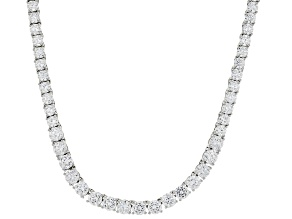 White Cubic Zirconia Rhodium Over Sterling Silver Tennis Necklace And Extender 58.85ctw