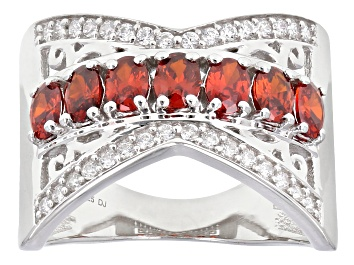 Picture of Red And White Cubic Zirconia Rhodium Over Sterling Silver Ring 2.14ctw