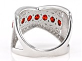 Red And White Cubic Zirconia Rhodium Over Sterling Silver Ring 2.14ctw