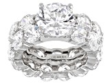 White Cubic Zirconia Rhodium Over Sterling Silver Ring With Band 28.25ctw