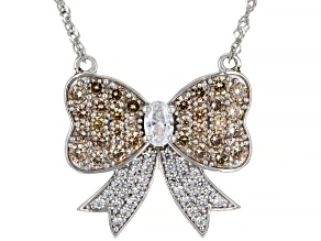 Champagne And White Cubic Zirconia Rhodium Over Sterling Silver Bow Necklace 4.89ctw