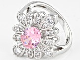 Pink And White Cubic Zirconia Rhodium Over Sterling Silver Ring 4.17ctw