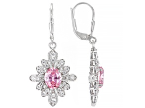 Pink And White Cubic Zirconia Rhodium Over Sterling Silver Earrings 5.37ctw