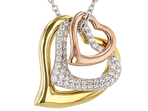 White Cubic Zirconia Rhodium And 18K Yellow And Rose Gold Over Sterling Silver Pendant With Chain