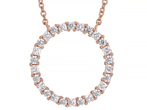 White Cubic Zirconia 18K Rose Gold Over Sterling Silver Necklace 1.80ctw