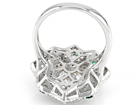 White Cubic Zirconia And Lab Created Green Spinel Rhodium Over Sterling Silver Ring 7.83ctw