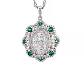 White Cubic Zirconia And Lab Created Green Spinel Rhodium Over Sterling Silver Pendant With Chain