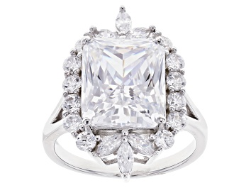 Picture of White Cubic Zirconia Rhodium Over Sterling Silver Ring 13.69ctw