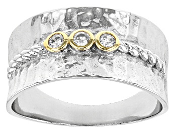 Picture of White Cubic Zirconia Rhodium And 14K Yellow Gold Over Sterling Silver Ring 0.18ctw