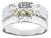 White Cubic Zirconia Rhodium And 14K Yellow Gold Over Sterling Silver Ring 0.18ctw