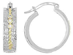 White Cubic Zirconia Rhodium And 14K Yellow Gold  Over Sterling Silver Hoop Earrings 0.08ctw