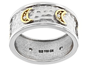 White Cubic Zirconia Rhodium And 14K Yellow Gold Over Sterling Silver Moon Band Ring 0.08ctw