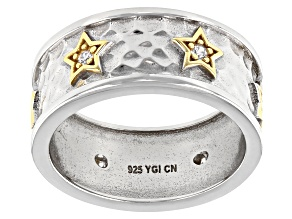White Cubic Zirconia Rhodium And 14k Yellow Gold Over Sterling Silver Sterling Silver Star Ring